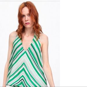 Zara Halter Cutout Top Green White Striped Small